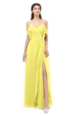 ColsBM Blair Yellow Iris Bridesmaid Dresses Spaghetti Zipper Simple A-line Ruching Short Sleeve