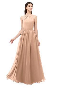 ColsBM Irene Almost Apricot Bridesmaid Dresses Sleeveless Halter Criss-cross Straps Sexy A-line Sash