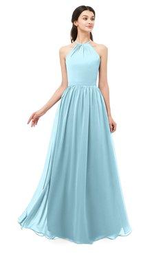 ColsBM Irene Aqua Bridesmaid Dresses Sleeveless Halter Criss-cross Straps Sexy A-line Sash
