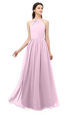 ColsBM Irene Baby Pink Bridesmaid Dresses Sleeveless Halter Criss-cross Straps Sexy A-line Sash