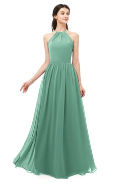 ColsBM Irene Beryl Green Bridesmaid Dresses Sleeveless Halter Criss-cross Straps Sexy A-line Sash