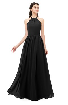 ColsBM Irene Black Bridesmaid Dresses Sleeveless Halter Criss-cross Straps Sexy A-line Sash