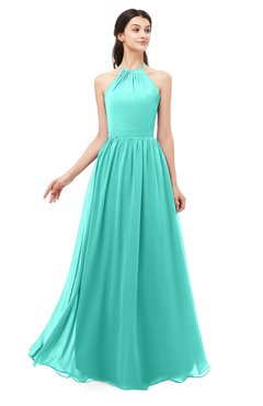 ColsBM Irene Blue Turquoise Bridesmaid Dresses Sleeveless Halter Criss-cross Straps Sexy A-line Sash