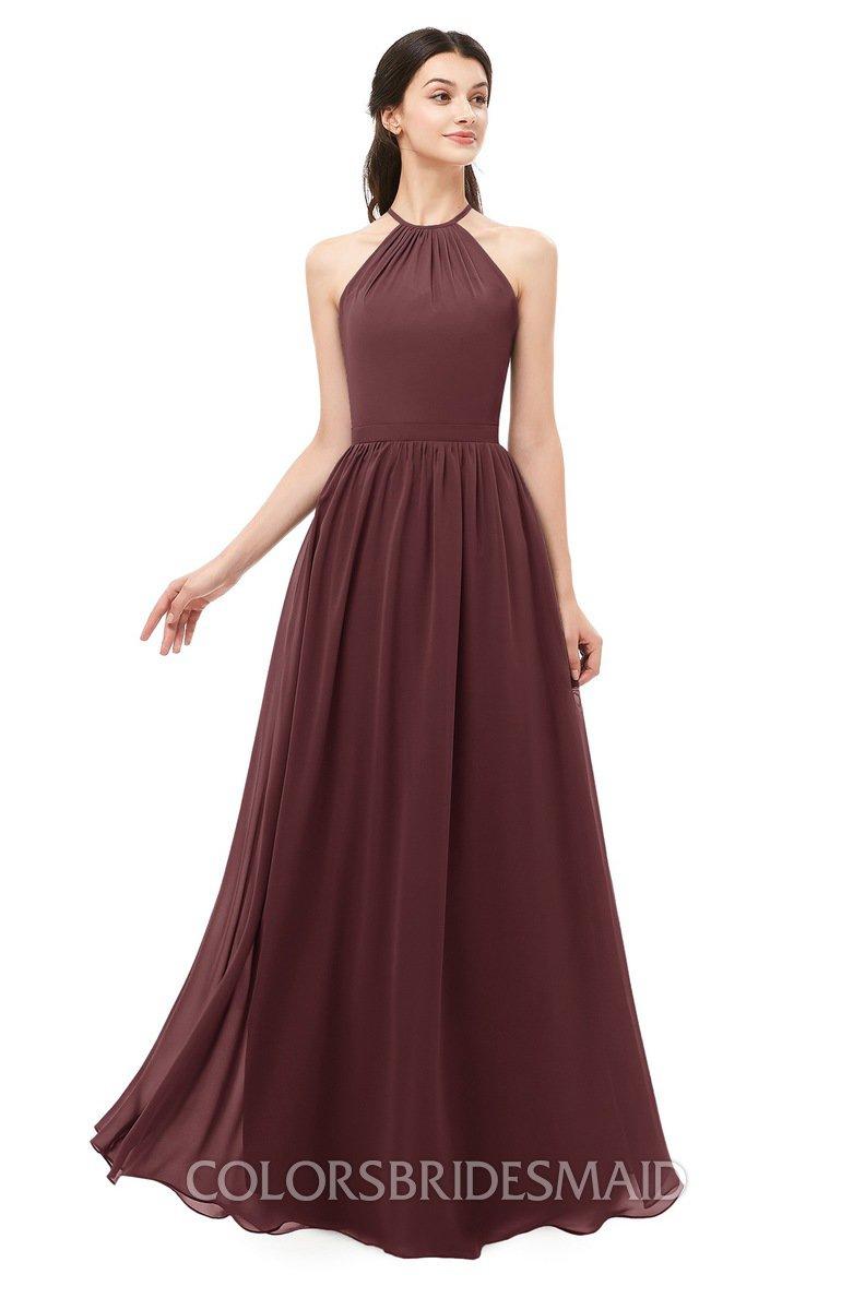 079370a5ac2f5 ColsBM Irene Burgundy Bridesmaid Dresses Sleeveless Halter Criss-cross  Straps Sexy A-line Sash