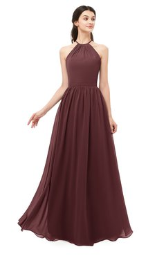 ColsBM Irene Burgundy Bridesmaid Dresses Sleeveless Halter Criss-cross Straps Sexy A-line Sash