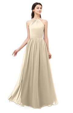 ColsBM Irene Champagne Bridesmaid Dresses Sleeveless Halter Criss-cross Straps Sexy A-line Sash