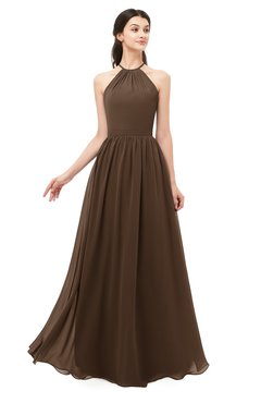 ColsBM Irene Chocolate Brown Bridesmaid Dresses Sleeveless Halter Criss-cross Straps Sexy A-line Sash