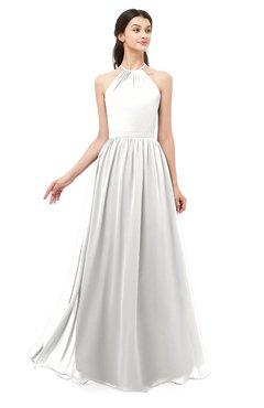 ColsBM Irene Cloud White Bridesmaid Dresses Sleeveless Halter Criss-cross Straps Sexy A-line Sash