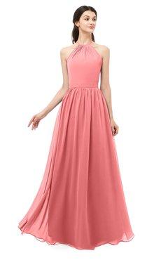ColsBM Irene Coral Bridesmaid Dresses Sleeveless Halter Criss-cross Straps Sexy A-line Sash
