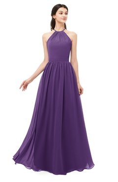 ColsBM Irene Dark Purple Bridesmaid Dresses Sleeveless Halter Criss-cross Straps Sexy A-line Sash