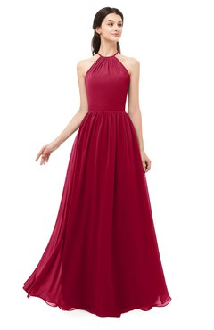ColsBM Irene Dark Red Bridesmaid Dresses Sleeveless Halter Criss-cross Straps Sexy A-line Sash