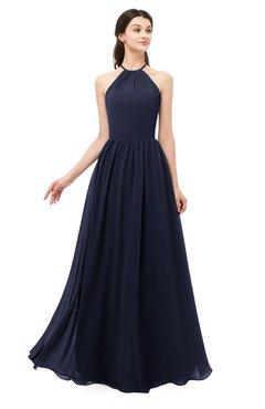 ColsBM Irene Dark Sapphire Bridesmaid Dresses Sleeveless Halter Criss-cross Straps Sexy A-line Sash