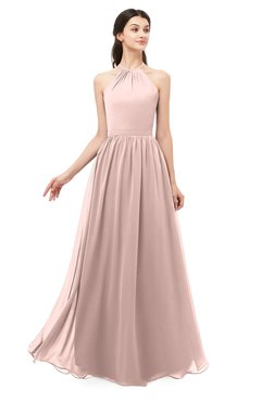 ColsBM Irene Dusty Rose Bridesmaid Dresses Sleeveless Halter Criss-cross Straps Sexy A-line Sash