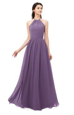 ColsBM Irene Eggplant Bridesmaid Dresses Sleeveless Halter Criss-cross Straps Sexy A-line Sash