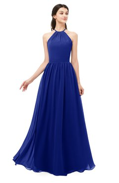 ColsBM Irene Electric Blue Bridesmaid Dresses Sleeveless Halter Criss-cross Straps Sexy A-line Sash