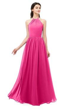 ColsBM Irene Fandango Pink Bridesmaid Dresses Sleeveless Halter Criss-cross Straps Sexy A-line Sash