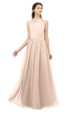 ColsBM Irene Fresh Salmon Bridesmaid Dresses Sleeveless Halter Criss-cross Straps Sexy A-line Sash