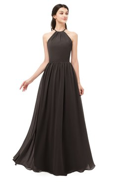 ColsBM Irene Fudge Brown Bridesmaid Dresses Sleeveless Halter Criss-cross Straps Sexy A-line Sash
