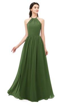 ColsBM Irene Garden Green Bridesmaid Dresses Sleeveless Halter Criss-cross Straps Sexy A-line Sash