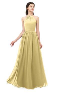 ColsBM Irene Gold Bridesmaid Dresses Sleeveless Halter Criss-cross Straps Sexy A-line Sash