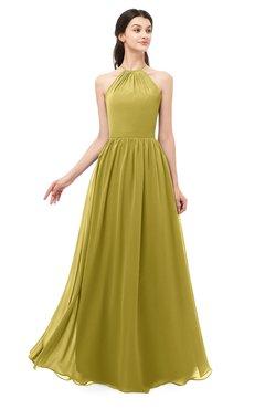 ColsBM Irene Golden Olive Bridesmaid Dresses Sleeveless Halter Criss-cross Straps Sexy A-line Sash