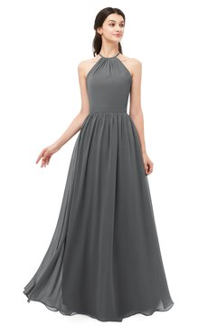 ColsBM Irene Grey Bridesmaid Dresses Sleeveless Halter Criss-cross Straps Sexy A-line Sash