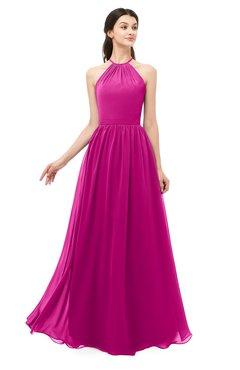 ColsBM Irene Hot Pink Bridesmaid Dresses Sleeveless Halter Criss-cross Straps Sexy A-line Sash