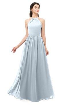 ColsBM Irene Illusion Blue Bridesmaid Dresses Sleeveless Halter Criss-cross Straps Sexy A-line Sash