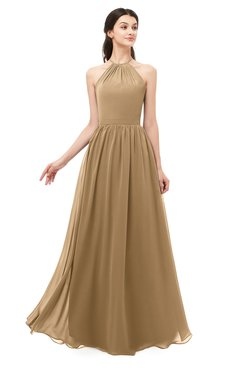 ColsBM Irene Indian Tan Bridesmaid Dresses Sleeveless Halter Criss-cross Straps Sexy A-line Sash