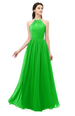 ColsBM Irene Jasmine Green Bridesmaid Dresses Sleeveless Halter Criss-cross Straps Sexy A-line Sash
