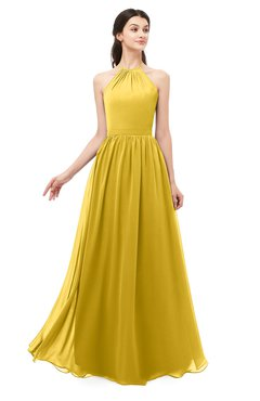ColsBM Irene Lemon Curry Bridesmaid Dresses Sleeveless Halter Criss-cross Straps Sexy A-line Sash