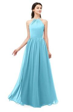 ColsBM Irene Light Blue Bridesmaid Dresses Sleeveless Halter Criss-cross Straps Sexy A-line Sash