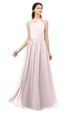 ColsBM Irene Light Pink Bridesmaid Dresses Sleeveless Halter Criss-cross Straps Sexy A-line Sash