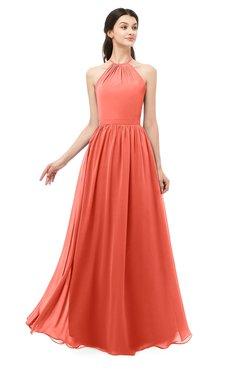 ColsBM Irene Living Coral Bridesmaid Dresses Sleeveless Halter Criss-cross Straps Sexy A-line Sash