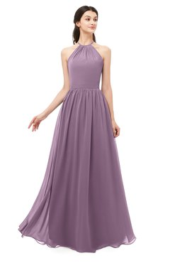 ColsBM Irene Mauve Bridesmaid Dresses Sleeveless Halter Criss-cross Straps Sexy A-line Sash