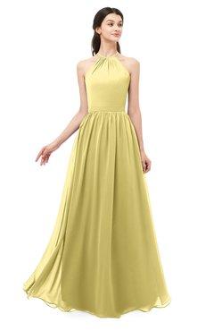 ColsBM Irene Misted Yellow Bridesmaid Dresses Sleeveless Halter Criss-cross Straps Sexy A-line Sash