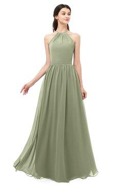 ColsBM Irene Moss Green Bridesmaid Dresses Sleeveless Halter Criss-cross Straps Sexy A-line Sash