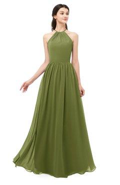ColsBM Irene Olive Green Bridesmaid Dresses Sleeveless Halter Criss-cross Straps Sexy A-line Sash