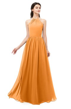 ColsBM Irene Orange Bridesmaid Dresses Sleeveless Halter Criss-cross Straps Sexy A-line Sash