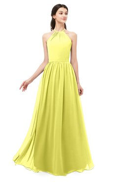 ColsBM Irene Pale Yellow Bridesmaid Dresses Sleeveless Halter Criss-cross Straps Sexy A-line Sash