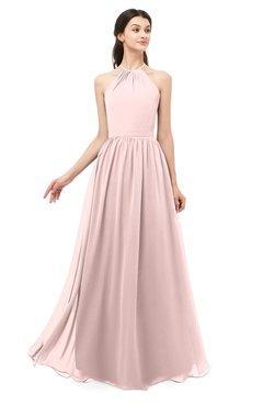 ColsBM Irene Pastel Pink Bridesmaid Dresses Sleeveless Halter Criss-cross Straps Sexy A-line Sash