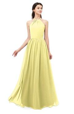 ColsBM Irene Pastel Yellow Bridesmaid Dresses Sleeveless Halter Criss-cross Straps Sexy A-line Sash
