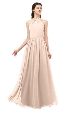 ColsBM Irene Peach Puree Bridesmaid Dresses Sleeveless Halter Criss-cross Straps Sexy A-line Sash