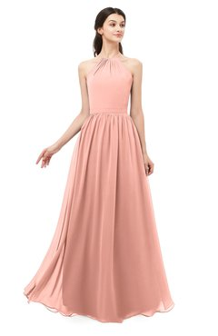 ColsBM Irene Peach Bridesmaid Dresses Sleeveless Halter Criss-cross Straps Sexy A-line Sash