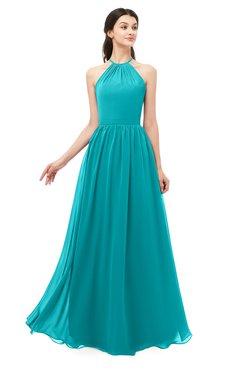 ColsBM Irene Peacock Blue Bridesmaid Dresses Sleeveless Halter Criss-cross Straps Sexy A-line Sash