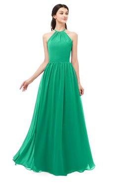 ColsBM Irene Pepper Green Bridesmaid Dresses Sleeveless Halter Criss-cross Straps Sexy A-line Sash