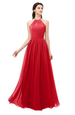 ColsBM Irene Red Bridesmaid Dresses Sleeveless Halter Criss-cross Straps Sexy A-line Sash