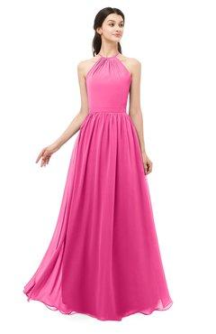 ColsBM Irene Rose Pink Bridesmaid Dresses Sleeveless Halter Criss-cross Straps Sexy A-line Sash