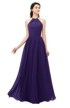 ColsBM Irene Royal Purple Bridesmaid Dresses Sleeveless Halter Criss-cross Straps Sexy A-line Sash