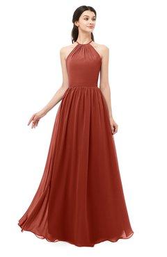 ColsBM Irene Rust Bridesmaid Dresses Sleeveless Halter Criss-cross Straps Sexy A-line Sash